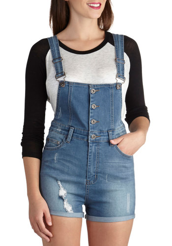 Skate Date Overalls - Long, Boho, Blue, Denim, Pockets, Woven