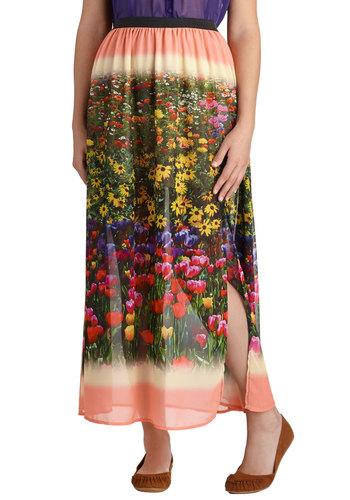 Flowery Field Trip Skirt - Long, Chiffon, Boho, Multi, Floral, Summer, Maxi, Multi, Woven