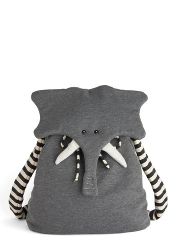 Back Pachyderm by Heel Athens Lab - Grey, Black, White, Print with Animals, Kawaii, International Designer, Cotton, Travel, Quirky, Scholastic/Collegiate