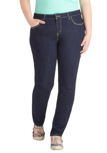Fair and Four Square Jeans in Plus Size by Levi's - Denim, Knit, Blue, Solid, Pockets, Casual, Skinny, Fall, Gifts Sale