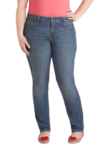 My Blue Heavenly Jeans in Antique - Plus Size by Levi's - Denim, Blue, Solid, Pockets, Casual, Cotton, Woven, Basic, Fall, Gifts Sale