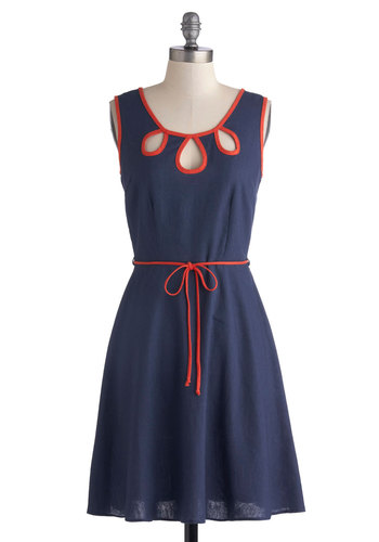 Offering Energy Dress in Navy - Mid-length, Woven, Blue, Red, Cutout, Belted, Casual, A-line, Sleeveless, Good, Scoop, Trim