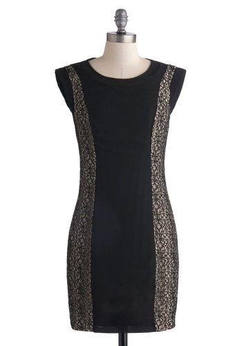 Shadow Suite Dress - Short, Woven, Black, Tan / Cream, Girls Night Out, Bodycon / Bandage, Cap Sleeves, Better, Scoop