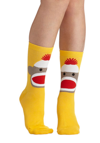 Monkeying Around Socks - Yellow, Multi, Casual, Quirky, Good, Print with Animals