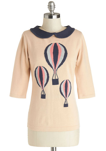 In My Beautiful Balloon Top by Sugarhill Boutique - Pink, Blue, Novelty Print, Peter Pan Collar, Casual, 3/4 Sleeve, Mid-length, Cotton, Knit, Pink, 3/4 Sleeve, Gifts Sale