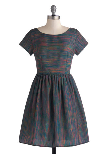 Beauty in the Air Dress in Dusk Stripes - Mid-length, Woven, Multi, Stripes, Casual, A-line, Short Sleeves, Good, Scoop, Exclusives