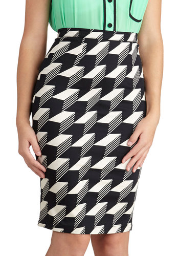 Thought I'd Dimension Skirt - Checkered / Gingham, Pencil, 90s, Black, White, Black, White, Mid-length