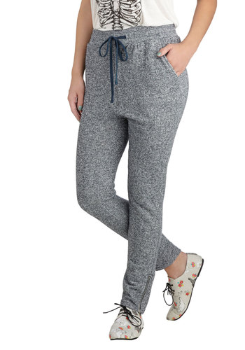 Flecks in the City Lounge Pants - Grey, Solid, Pockets, Casual, Urban, Skinny, Fall