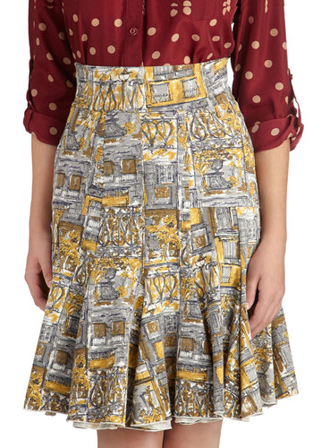 Jupe du Jour Skirt by Effie's Heart - Multi, Print, Mid-length, Cotton, Woven, Pockets, Daytime Party, A-line, Multi, Top Rated