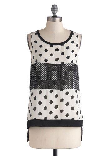 Shop 'Til You Dot Top - Mid-length, Chiffon, Multi, Black, White, Polka Dots, Sleeveless, Exposed zipper, Casual, Woven, Scoop, Sheer, Gifts Sale, Black, Sleeveless