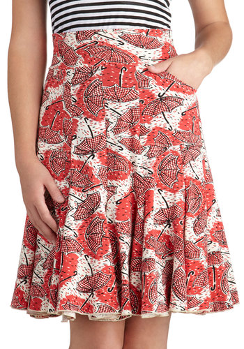 Waltz of the Showers Skirt by Effie's Heart - Red, Novelty Print, Mid-length, Jersey, Cotton, Knit, Pockets, Daytime Party, A-line, Red