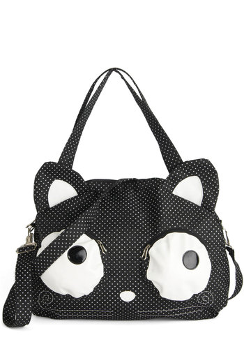 Good Omen Bag - Black, White, Polka Dots, Print with Animals, Quirky, Good, Cats, Casual, Halloween