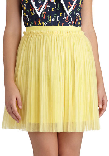 Lemon Fizzy Skirt - Yellow, Pleats, Party, Daytime Party, A-line, Knit, Short, Solid