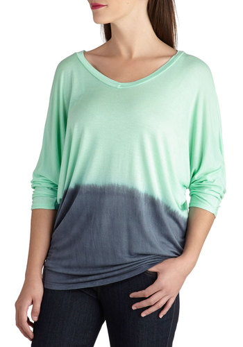 Two-tone if by Sea Top - Mid-length, Mint, Blue, Ombre, Casual, 3/4 Sleeve, Travel, Knit