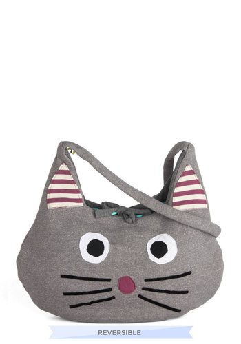 A Purse to Purr About Bag by Heel Athens Lab - Grey, Multi, Print with Animals, Casual, Kawaii, International Designer, Cotton, Cats, Quirky