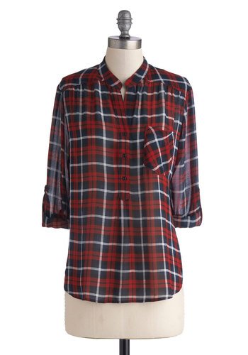 Living Room Lodging Top in Midnight Red - Red, Blue, White, Plaid, Casual, Long Sleeve, Good, Mid-length, Chiffon, Sheer, Woven, Buttons, Pockets, Rustic, Variation, Fall, Red, Tab Sleeve