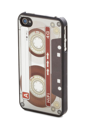 Cassette the Standard iPhone 4/4S Case by Kikkerland - Grey, Black, White, Print, Travel, Quirky