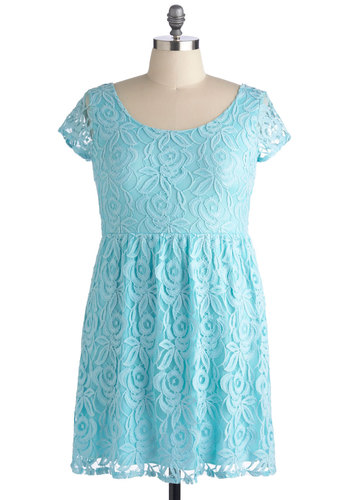 Dear Blue Sky Dress in Plus Size - Blue, Solid, Lace, A-line, Cap Sleeves, Scoop, Sheer, Wedding, Party, Daytime Party, Graduation, Pastel, Summer, Exclusives