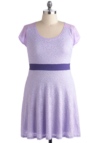 Fields of Lilac Dress in Plus Size - Purple, Solid, Lace, Wedding, Party, Daytime Party, Pastel, A-line, Short Sleeves, Spring, Sheer, Scoop, Summer, Exclusives