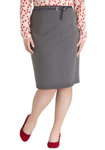 Land the Job Skirt in Grey - Plus Size - Woven, Grey, Solid, Work, Pencil, Basic, Belted, Exclusives