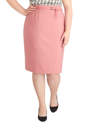 Land the Job Skirt in Pink - Plus Size - Pink, Solid, Woven, Work, Pencil, Woven, Basic, Belted, Exclusives