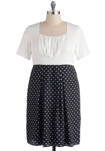 New Hometown Dress in Plus Size - Blue, White, Polka Dots, Ruching, Party, Short Sleeves, A-line, Work, Twofer, Exclusives