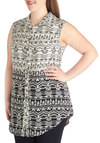 Geometrics of Success Top in Plus Size - Woven, Multi, Print, Casual, Button Down, Sleeveless, Collared, Black, White, Buttons