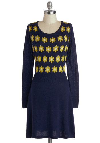 Classical Floral Piece Dress in Navy by Yumi - Floral, Long Sleeve, Blue, Yellow, Casual, Sheath / Shift, Better, Scoop, Sweater Dress, Vintage Inspired, Mid-length, Knit, Fall, 90s, Winter