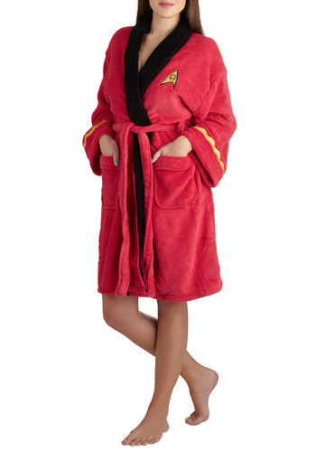 After the Trek Robe - Red, Multi, Novelty Print, Casual, Travel, Quirky, Long Sleeve, Knit, Yellow, Black, Pockets, Belted, Halloween
