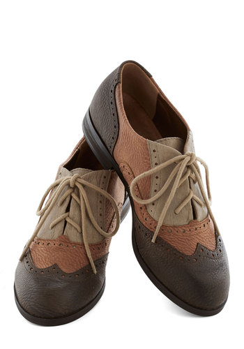 Sepia in the Right Direction Shoe - Brown, Grey, Menswear Inspired, Colorblocking, Low, Good, Lace Up, Tan / Cream, Casual, Faux Leather, Fall, Work