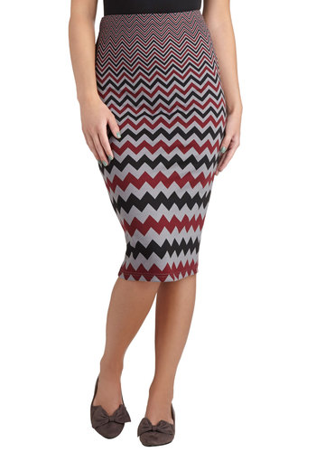 Virtual Realty Skirt by Jack by BB Dakota - Multi, Chevron, Pencil, Long, Work, Multi