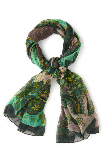 Whim and Vigor Scarf - Green, Paisley, Boho, Sheer, Better, Multi