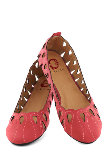 Phantasmagorical Flat in Apple - Red, Solid, Cutout, Flat, Faux Leather, Good, Casual, Variation