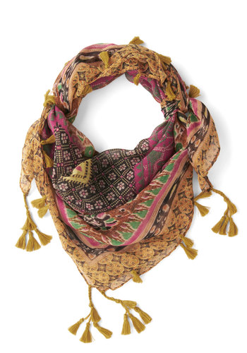 Floral Occasions Scarf - Yellow, Multi, Print, Tassels, Boho, Better, Fall
