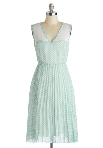 Vanilla Mint Tea Dress - Chiffon, Sheer, Woven, Long, Mint, White, Polka Dots, Pleats, Casual, A-line, Sleeveless, Better, V Neck