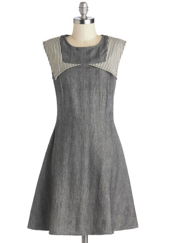 Schoolhouse Moxie Dress by Mata Traders - Grey, White, Stripes, A-line, Sleeveless, Better, Scoop, Casual, Mid-length, Cotton, Woven, Gifts Sale, Eco-Friendly, Show On Featured Sale