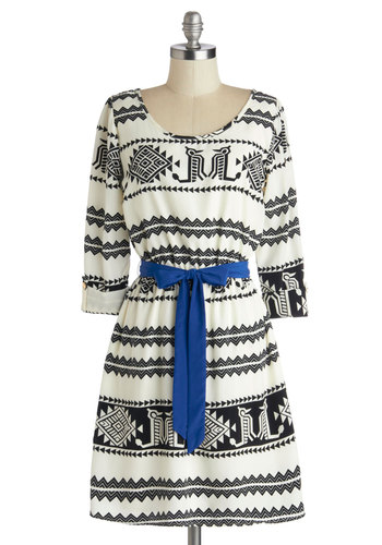 Southwestern Story Dress in Monochrome - Black, Print, Belted, Casual, A-line, 3/4 Sleeve, Good, Scoop, Woven, Mid-length, White, Folk Art