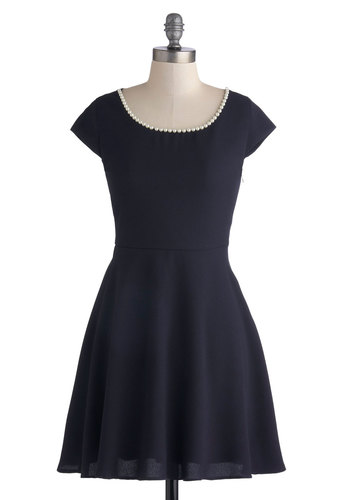 Pearly to Rise Dress - Short, Woven, Blue, Solid, Pearls, Party, A-line, Cap Sleeves, Good, Scoop