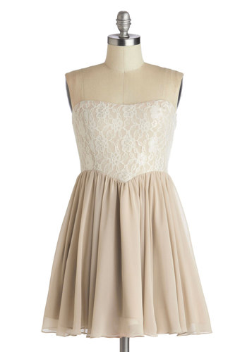 The Lace for Romance Dress - Short, Chiffon, Woven, Tan, Tan / Cream, Lace, Party, A-line, Strapless, Better, Sweetheart