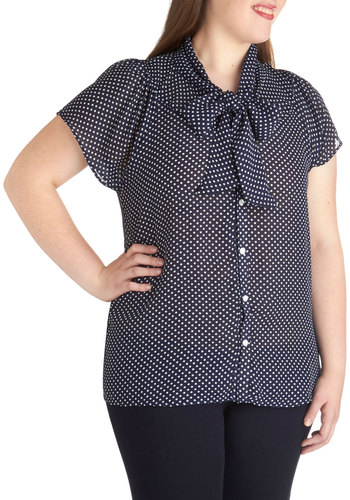 Jonquil You Be Mine? Top in Navy - Plus Size - Chiffon, Sheer, Woven, Polka Dots, Tie Neck, Short Sleeves, Blue, White, Buttons, Work, Variation, Exclusives