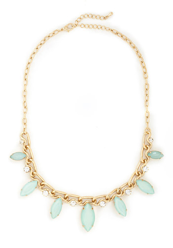 Pear Tree in Paradise Necklace - Mint, White, Gold, Solid, Pastel, Rhinestones, Special Occasion