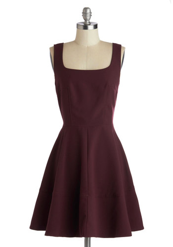 Staying Classy Dress - Mid-length, Knit, Red, Solid, Party, Fit & Flare, Sleeveless, Good