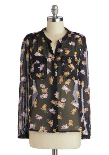 Whisker to Me Top - Black, Pink, Tan / Cream, White, Print with Animals, Buttons, Long Sleeve, Sheer, Woven, Pockets, Casual, Quirky, Cats, Button Down, Collared, Mid-length, Black, Long Sleeve