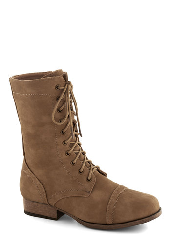 Barn Brunch Boot in Brown - Solid, Low, Lace Up, Faux Leather, Good, Brown, Casual, Rustic, Fall, Variation