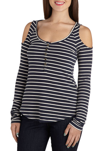 The Stripe is Right Top - Mid-length, Jersey, Knit, Blue, White, Stripes, Cutout, Casual, Long Sleeve, Buttons, Scoop, Blue, Long Sleeve
