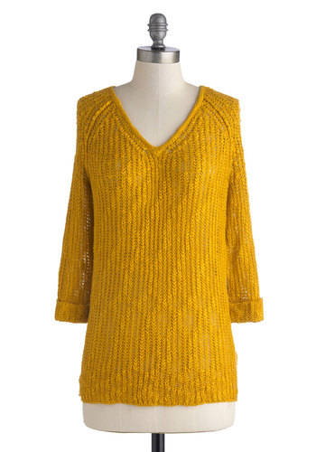 Bold in Marigold Top - Knit, Mid-length, Yellow, Solid, Knitted, Casual, 3/4 Sleeve, V Neck, Fall, Yellow, 3/4 Sleeve