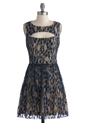 Leaf Me on the Dance Floor Dress - Blue, Tan / Cream, Cutout, Lace, Party, A-line, Sleeveless, Better, Scoop, Formal, Top Rated