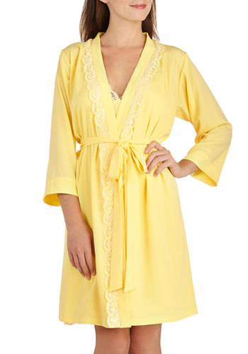 Draped in Dreams Robe - Yellow, Solid, Vintage Inspired, Pastel, 3/4 Sleeve, Chiffon, Sheer, Lace, Trim, Belted, Exclusives