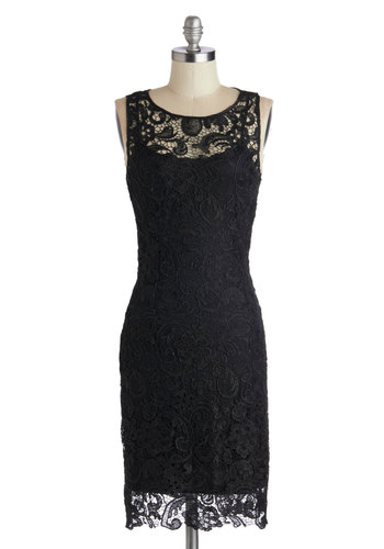 A Sweet Aperitif Dress in Noir - Sheer, Knit, Black, Solid, Lace, Party, Shift, Sleeveless, Good, Scoop, LBD, Mid-length