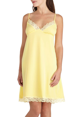 Draped in Dreams Nightgown - Yellow, Solid, Vintage Inspired, Pastel, Spaghetti Straps, Short, Sheer, Lace, Trim, Exclusives